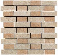 Jerusalem Ivory + Bourgogne Sand Mosaico Fabric