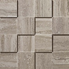 Travertino Silver Mosaico 3D Рельефная, для стен