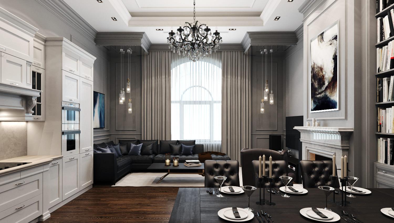 Дизайн проект интерьера трехкомнатной квартиры 150 кв. м. коттеджный посёлок Азарово Южное