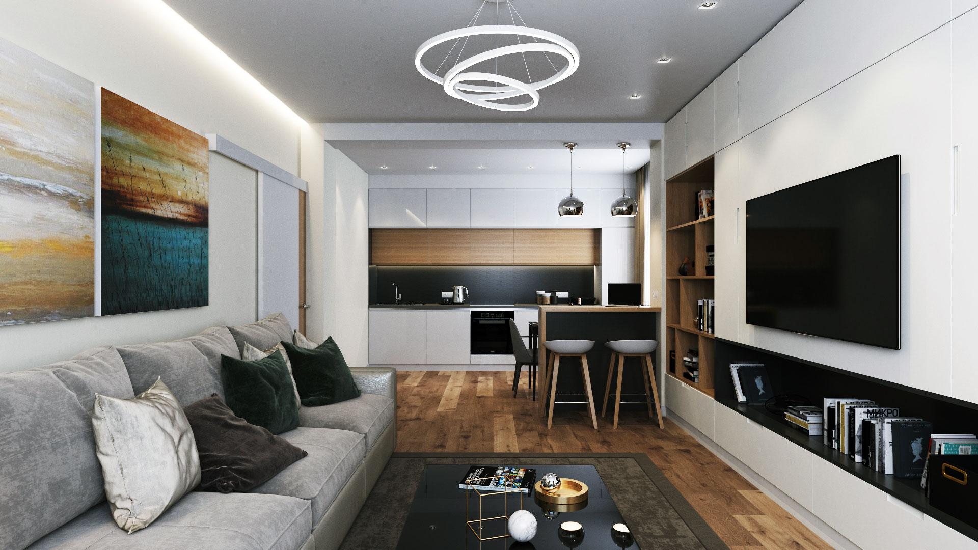 Современный дизайн интерьера трехкомнатной квартиры 80 кв. м. г. Липецк ул. Коцаря.
